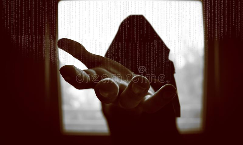 Cyberattackbegrepp royaltyfri bild