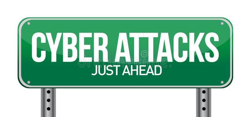 Cyberattacker som ett teknologibegrepp royaltyfri illustrationer