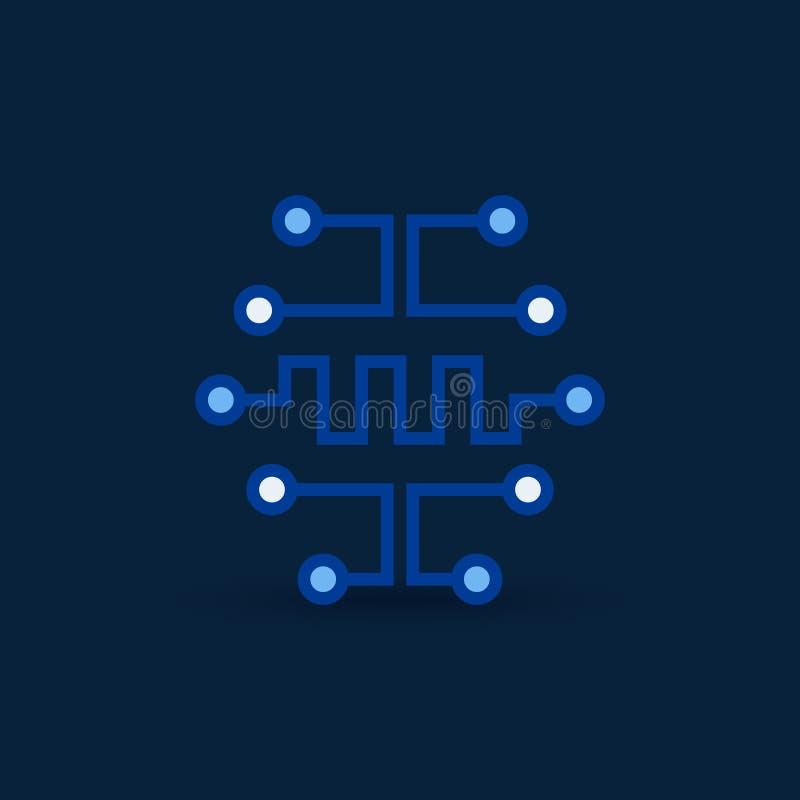 Cyberbrain ikona Wektorowy cyfrowego obwodu deski mózg symbol ilustracji