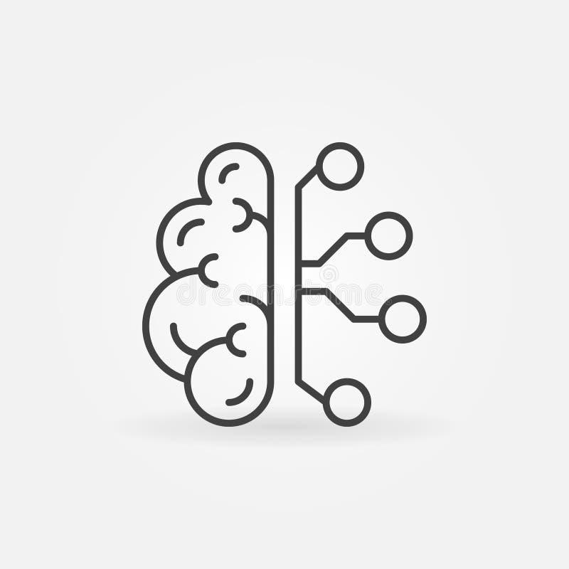 Cyberbrain linje symbol Hjärna för konstgjord intelligens för vektor royaltyfri illustrationer