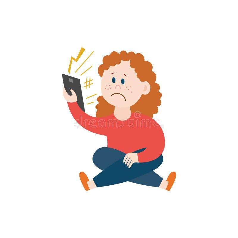 Cyberbullismo tramite l'illustrazione mobile di vettore del messaggio di telefono cellulare isolata su bianco royalty illustrazione gratis