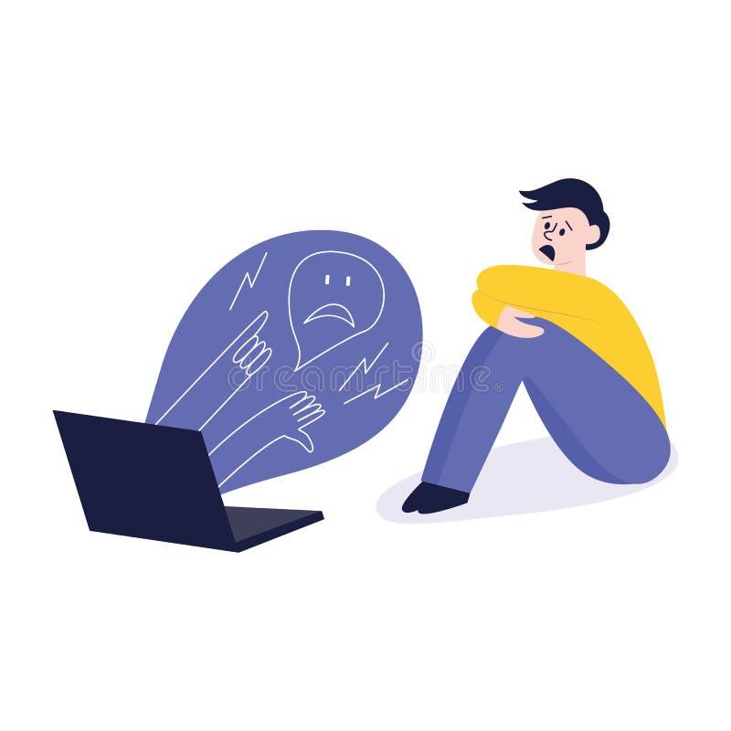 Cyberbullismo, una situazione del conflitto e violenza con un uomo, un ragazzo o un adolescente spaventato royalty illustrazione gratis