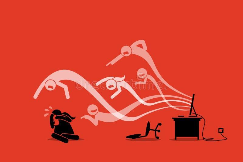 Cyberbully που προέρχεται από τον υπολογιστή Διαδίκτυο για να φοβερίσει και να παρενοχλήσει ένα κορίτσι απεικόνιση αποθεμάτων