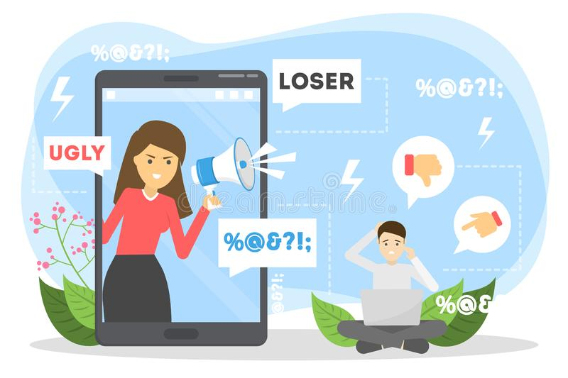 Cyberbullying concept. Idea of harassment in the internet. Online violence. Sad victim sitting with laptop. Abuse in social network. Isolated vector stock illustration