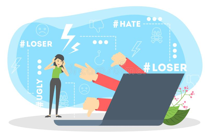 Cyberbullying concept. Idea of harassment in the internet. Online violence. Sad victim standing at the laptop. Abuse in social network. Isolated vector vector illustration