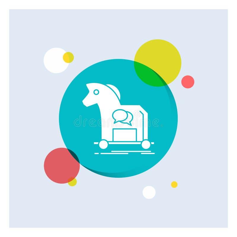 Cybercrime häst, internet, trojan, för vit bakgrund för cirkel skårasymbol för virus färgrik stock illustrationer