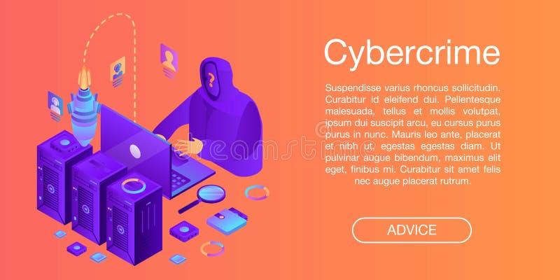 Cybercrimebegreppsbaner, isometrisk stil royaltyfri illustrationer
