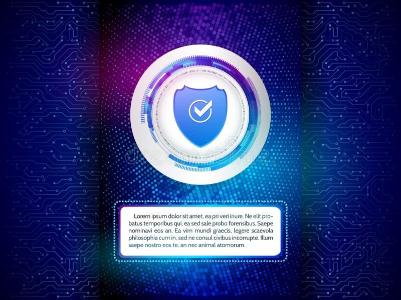 Cyberdatasäkerhet Nätverksvaktillustration Digital technol vektor illustrationer