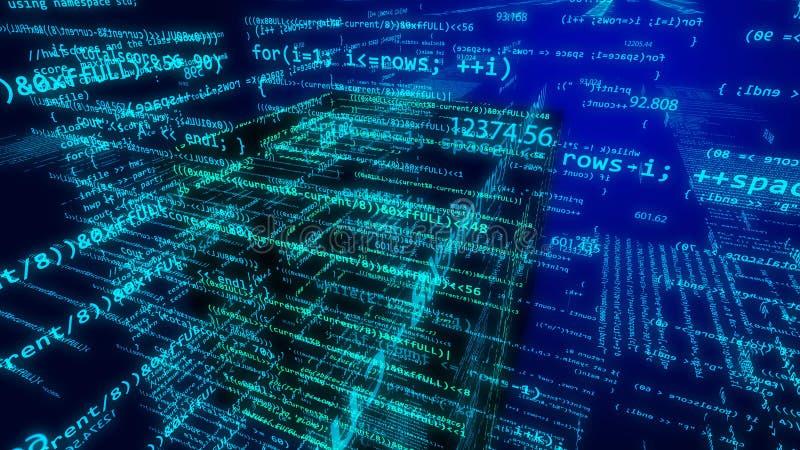 Cyberespace futuriste avec piloter le chiffre bleu-clair illustration stock