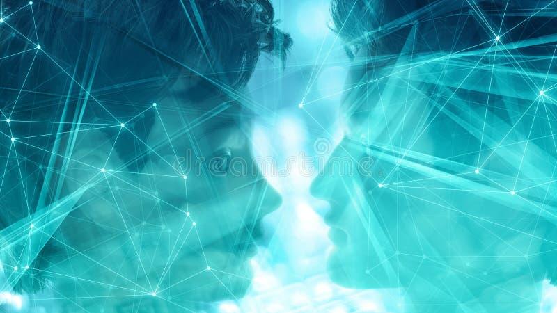 Cyberh?ndelser i hemlig labb Robotframsida, ny robotteknikinnovation f?r kvinnlig cyborg, konstgjort huvud royaltyfri illustrationer