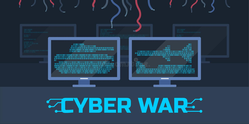 Cyberkrigbegrepp vektor illustrationer