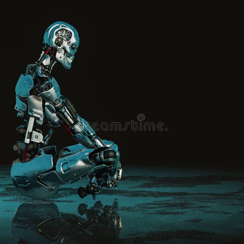 Cyberkvinnlig i en mörk och våt bakgrund vektor illustrationer
