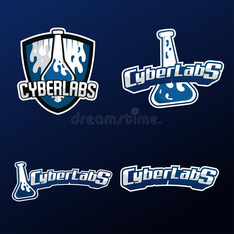CyberLabs Esport gaming logo 4 set style with dark blue background stock illustration