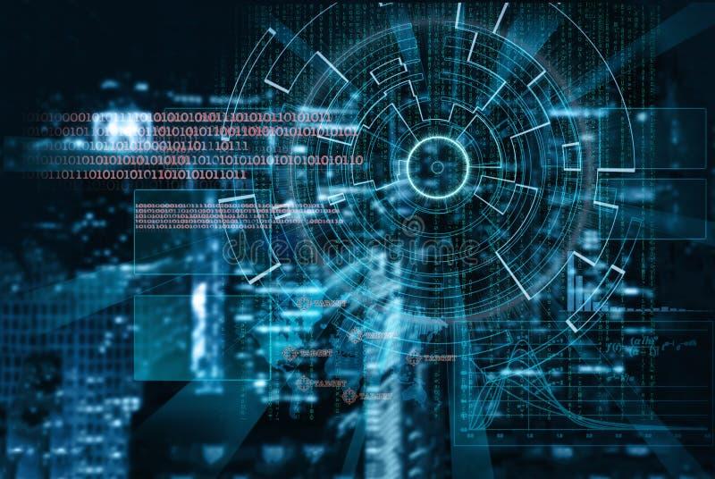 Cyberlaser-Ziel auf einer Nachtstadt verwischte Hintergrund