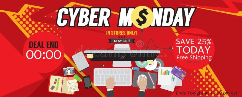 Cybermåndag för PIXEL 8000x3200 baner stock illustrationer