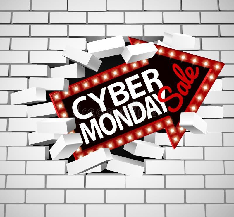 Cybermåndag Sale tecken som bryter till och med väggen royaltyfri illustrationer