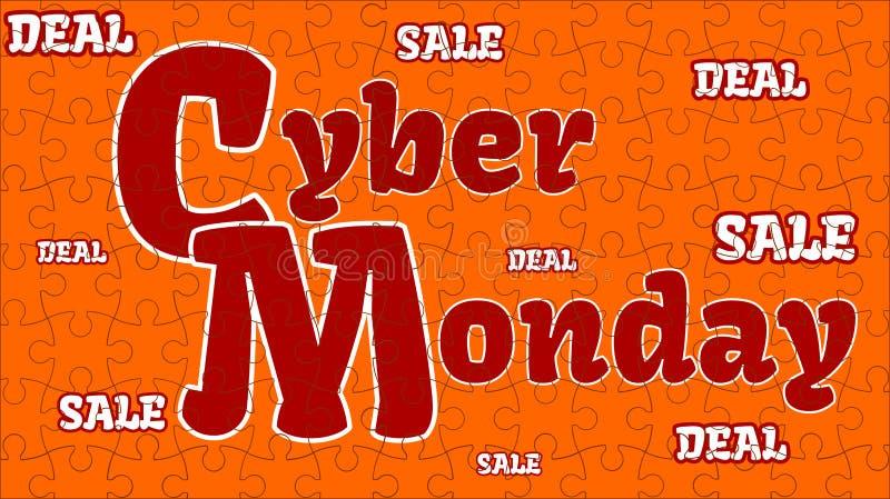 Cybermåndag stor försäljning och stor överenskommelse - orange pussel stock illustrationer