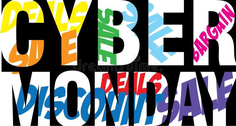 Cybermåndag text royaltyfri illustrationer