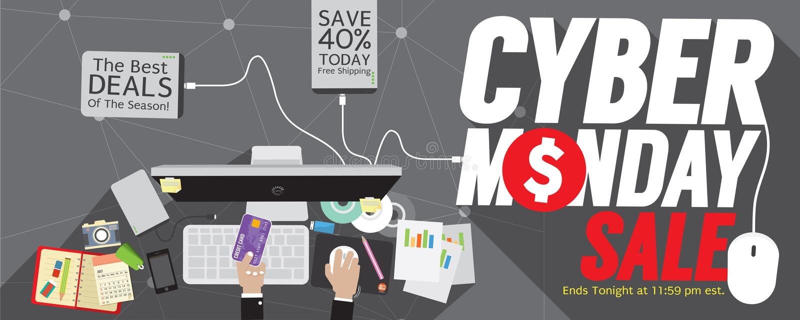 Cybermåndag toppet brett baner stock illustrationer