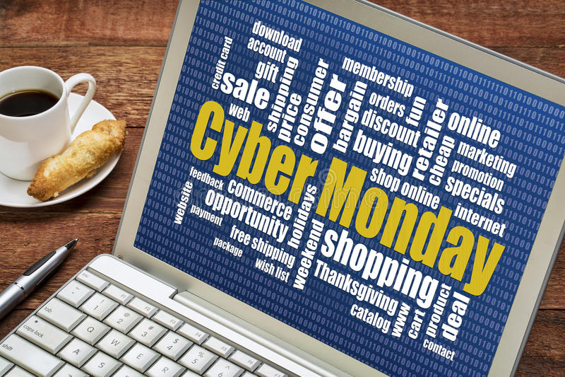 Cybermaandag het online winkelen stock fotografie