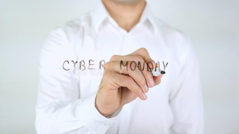 Cybermaandag, Mens die op Glas schrijven royalty-vrije stock afbeelding