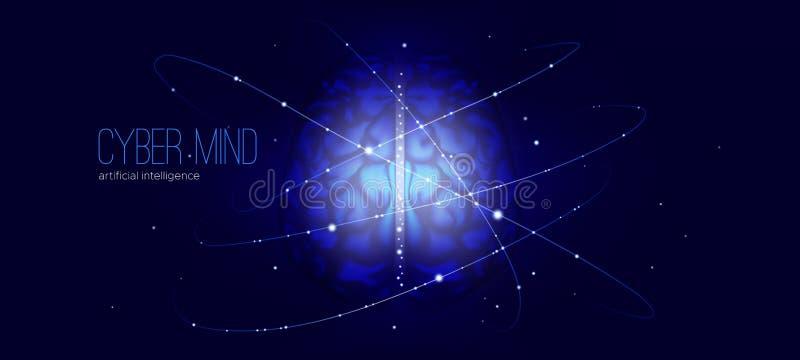 Cybermening, design för konstgjord intelligens stock illustrationer
