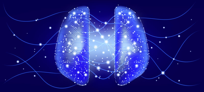 Cybermening, design för konstgjord intelligens vektor illustrationer