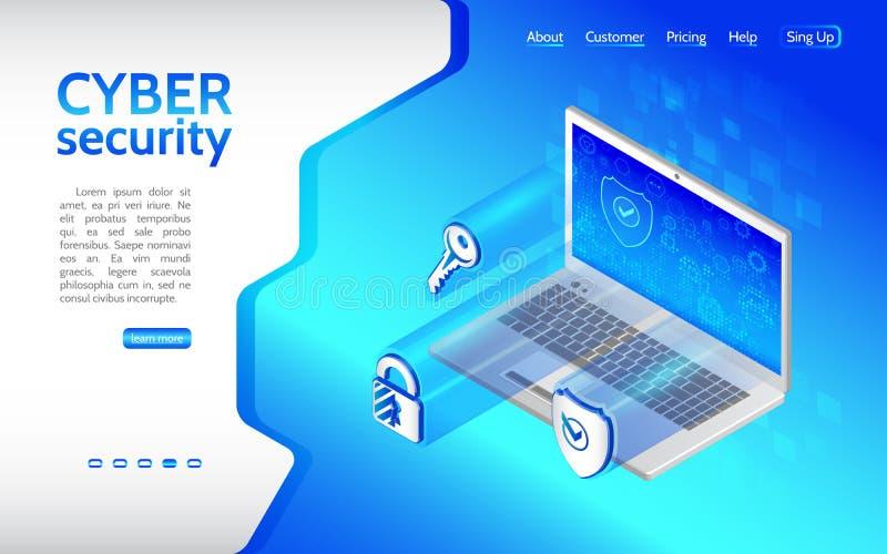 Cybermisdaad en gegevensbeschermingachtergrond met Laptop royalty-vrije illustratie