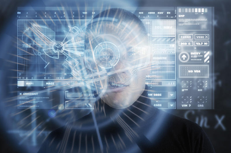 Cybermisdadiger die Vergrote Werkelijkheid Digitaal HUD Display gebruiken stock afbeeldingen