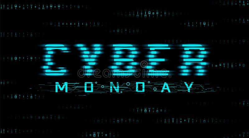 Cybermontag-Verkaufsfahne Hud-Art, Störschubeffekt Hintergrund des bin?ren Codes vektor abbildung