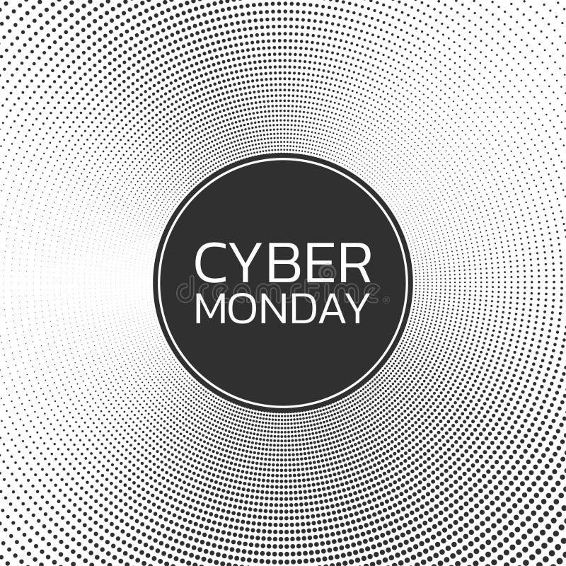 Cybermontag-Verkaufshintergrund Fahnenschablone Auch im corel abgehobenen Betrag stock abbildung