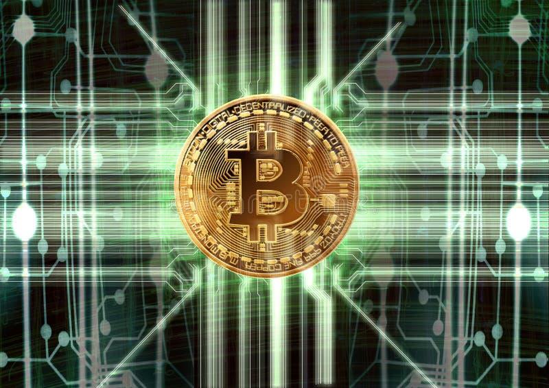 Cybernetic abstrakt bitcoinbegrepp stock illustrationer