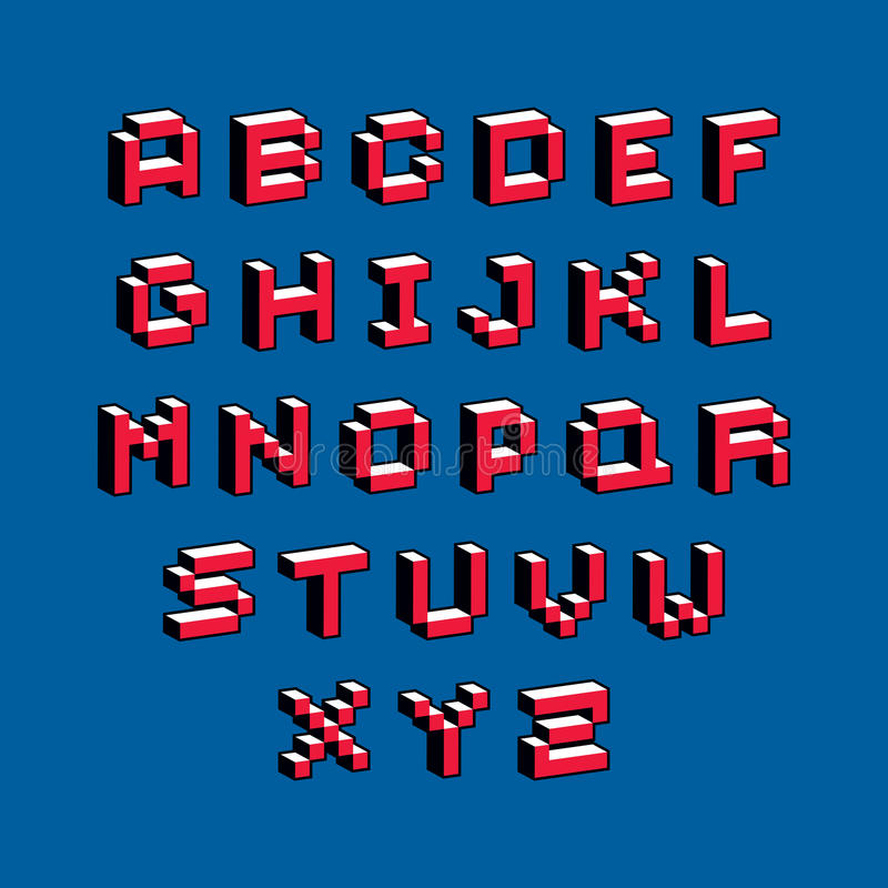 Cybernetic 3d Alphabet Letters, Pixel Art Vector Digital
