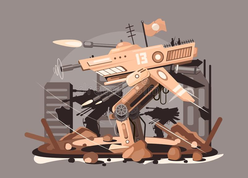 Cybernetic robot drone vector illustration. Steampunk cyborg flying robot monster flat style concept. Nano tech and royalty free illustration