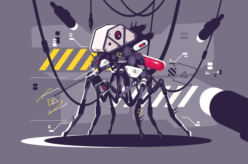 Cybernetic robot mosquito drone vector illustration