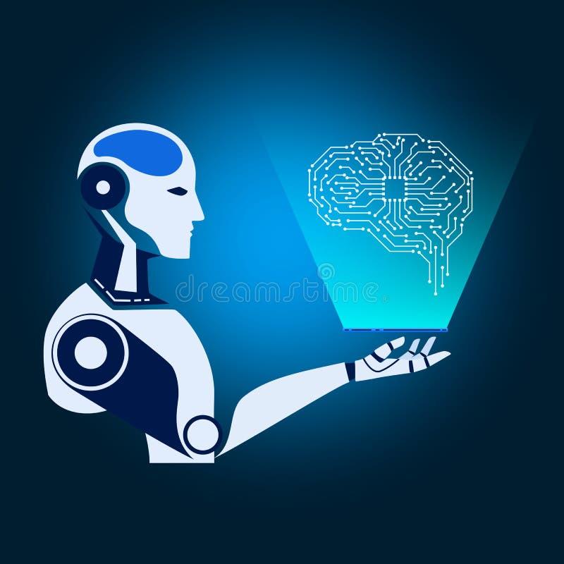 Cybernetische de robot houdt smartphone virtuele werkelijkheid elektronische kringshersenen toont AI kunstmatige intelligentie to stock illustratie