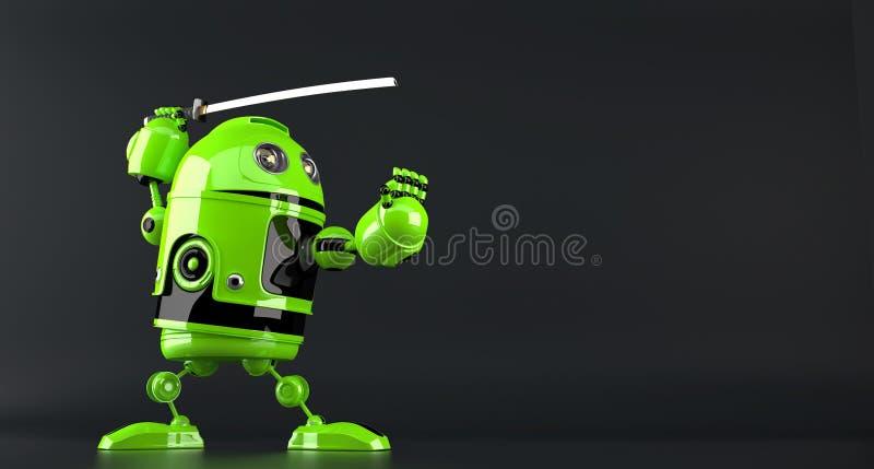 Cyberninja Het concept van de technologie Geïsoleerde Bevat het knippen weg royalty-vrije illustratie