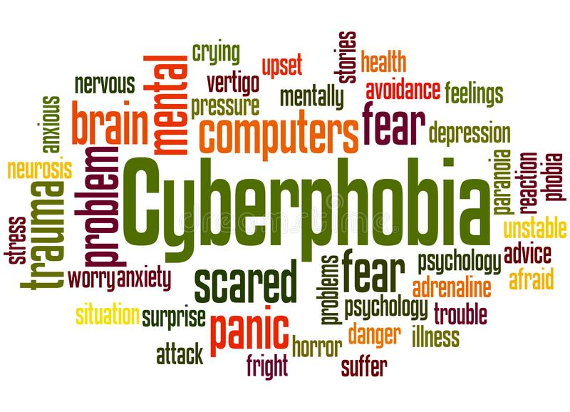 Cyberphobia fear of computers word cloud concept 2. Cyberphobia fear of computers word cloud concept on white background stock illustration