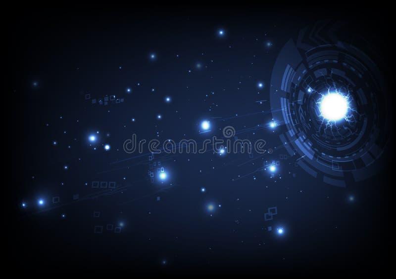Cyberprzestrzeń, oko ringowa brama na galaxy, gra główna rolę rozjarzonego astronomii pojęcie, cyfrowa przyszłość technologia, ab royalty ilustracja