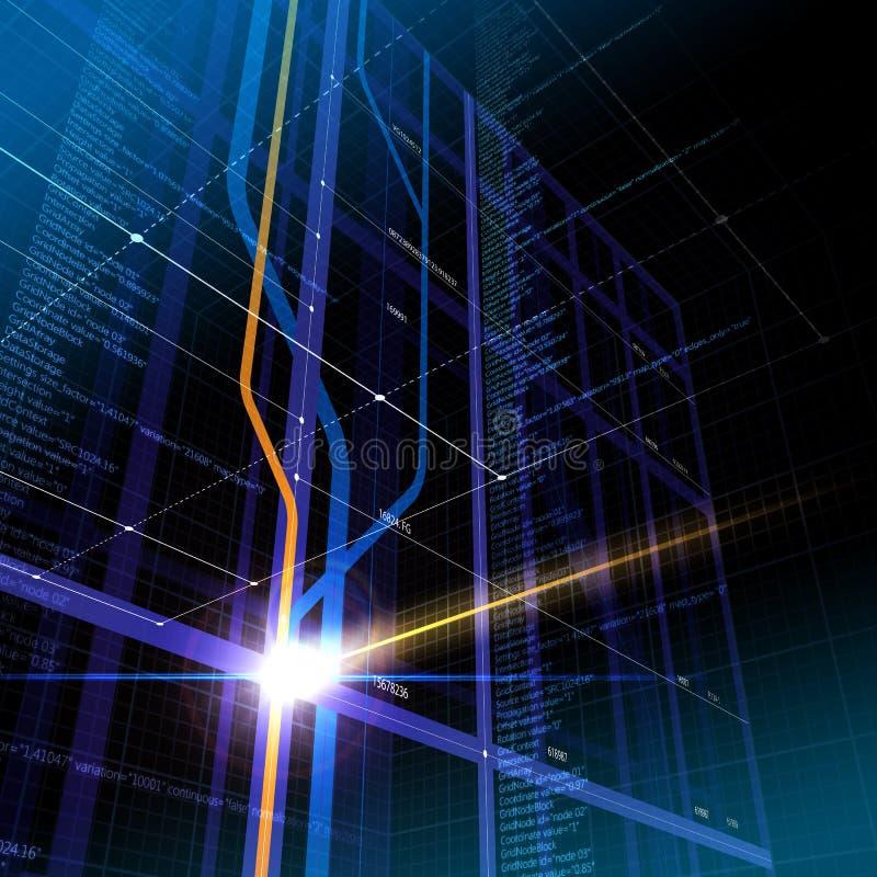 cyberprzestrzeni abstrakcjonistyczna technologie informacyjne ilustracja wektor