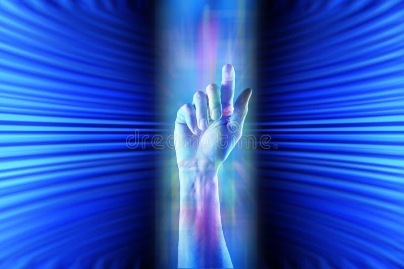 Cyberprzestrzeni ręki tło royalty ilustracja