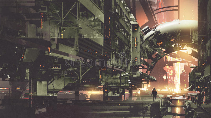 Cyberpunk city with futuristic buildings royalty free illustration