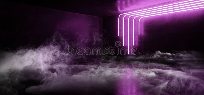 Cyberpunk för rökSci Fi rum för etapp för Retro modern vibrerande för ljus för blå ultraviolett lilor rosa futuristisk glödande s stock illustrationer