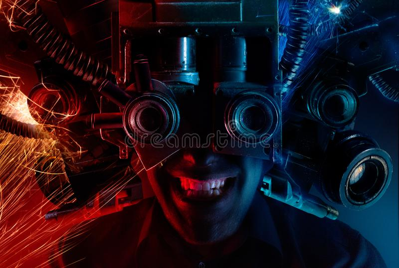 Cyberpunk male head portrait with robotic helmet royalty free stock photography