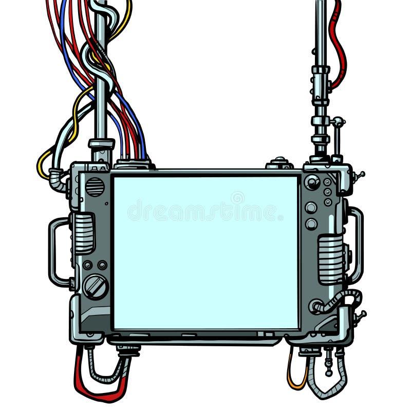 Cyberpunk monitor screen tool. Pop art retro vector illustration drawing vintage kitsch royalty free illustration