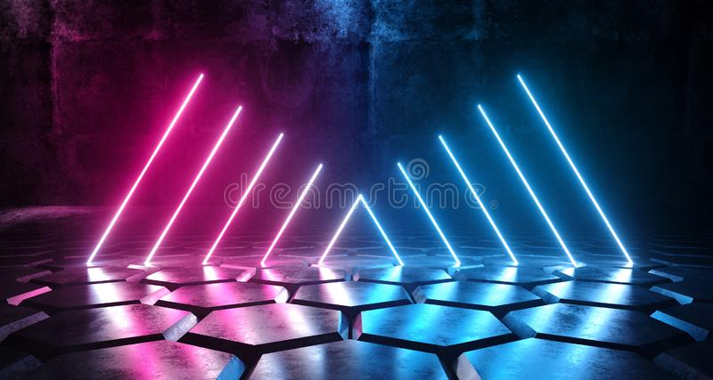 Cyberpunk Neon Glowing Vibrant Purple Blue Laser Led Glowing Tube Lights On Sci Fi Futuristic Modern Tiled Hexagonal Floor Dark stock illustration