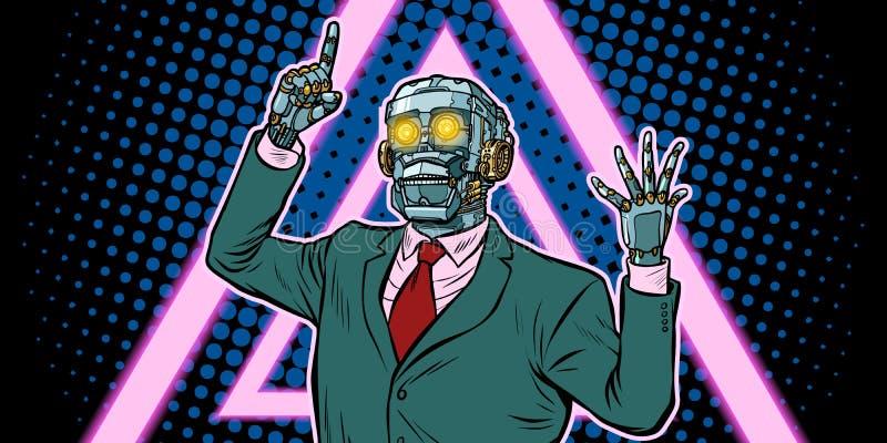 Cyberpunk 80s styl emocjonalny głośnikowy robot, dyktatura dziąsła ilustracja wektor