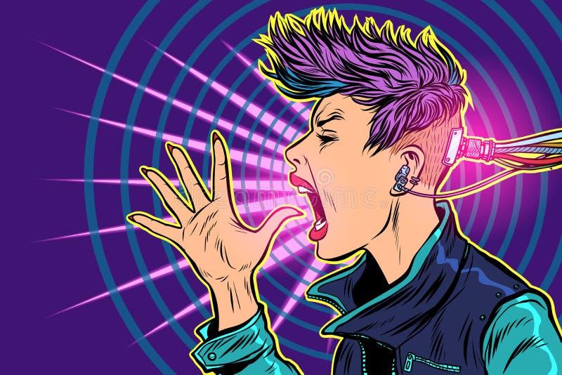Cyberpunkinternetböjelse grejvirtuality 80-talflickakvinna stock illustrationer