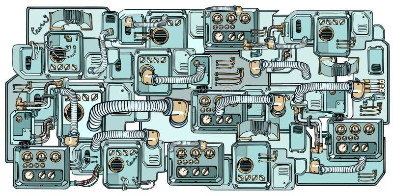 Cyberpunkrobotmekanism och maskiner Detaljer av spacecren stock illustrationer