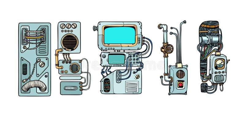 Cyberpunkrobotmekanism och maskiner Detaljer av spacecren royaltyfri illustrationer